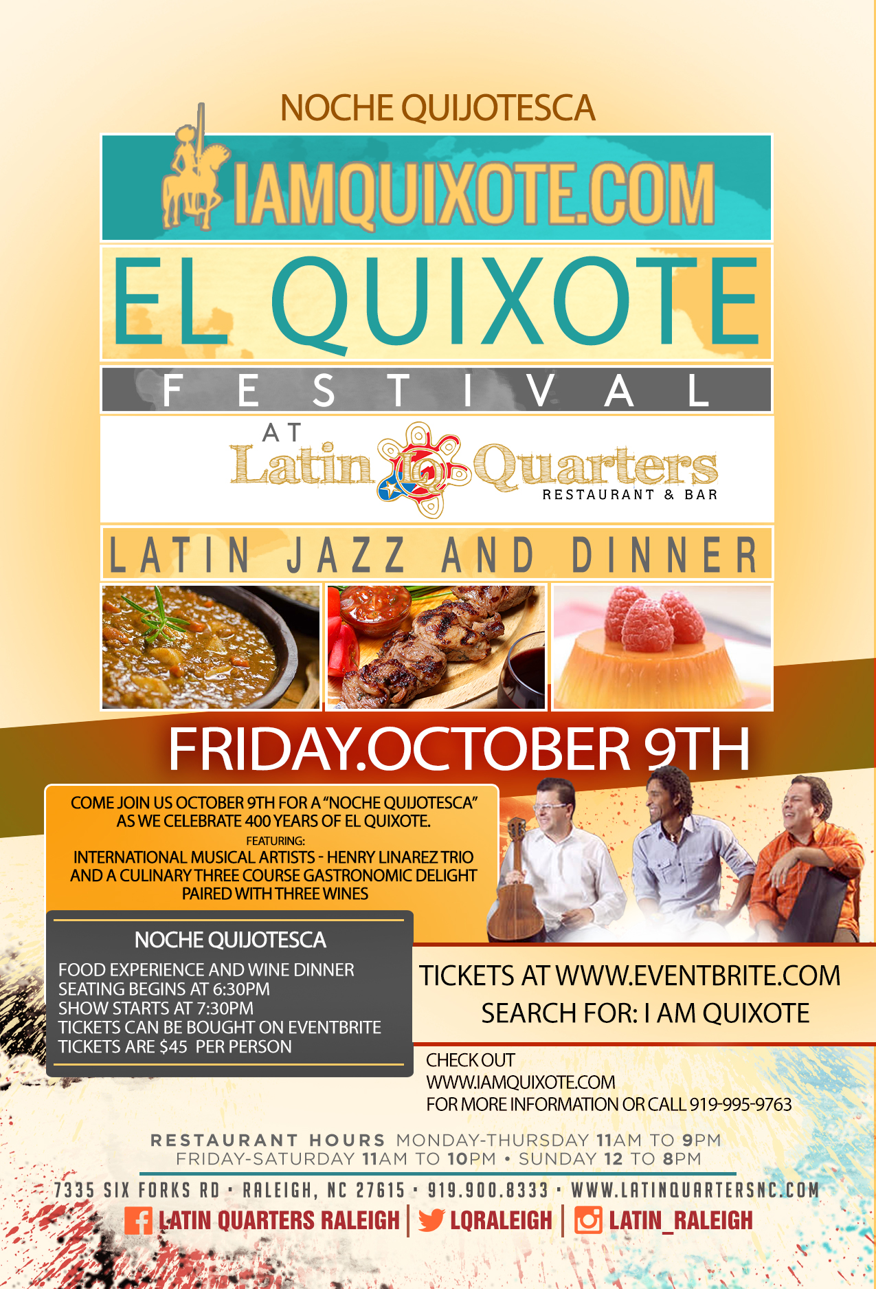 NOCHE QUIJOTESCA – CULINARY DELIGHT AND LIVE MUSIC - EL QUIXOTE FESTIVAL - OCT 9TH 2015